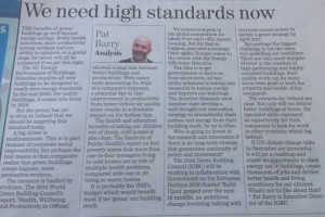Pat Barry: We need high standards now